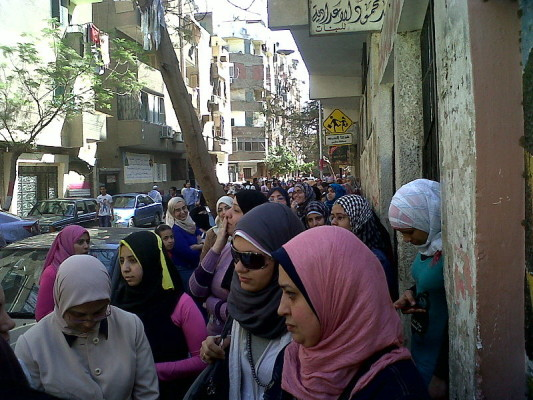 Women Standing In Line to Vote on the 2011 Egyptian Constitutional Referendum