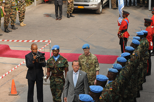 Martin Kobler, new SRSG in the D.R. Congo, arrives at MONUSCO HQ in Kinshasa to assume his duties, 13 August 2013, MONUSCO Photos, CC 2.0
