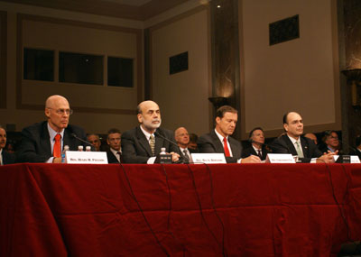 English: Treasury Secretary Henry Paulson, Federal Reserve Ben Bernanke, chairman of the SEC Christopher Cox, and James B. Lockhart III testifying on 2008-9-23 to Senate Banking Committee, 23 September 2008, public domain