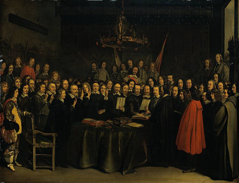 Ratification of the Peace of Münster between Spain and the Dutch Republic in the town hall of Münster, 15 May 1648., Gerard ter Borch, public domain