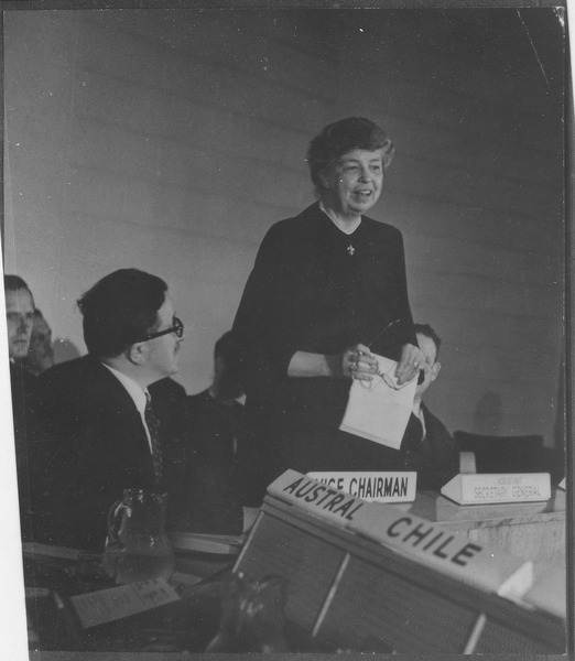 Eleanor Roosevelt at United Nations for Human Rights Commission meeting in Lake Success, New York, U.S. National Archives and Records Administration, public domain