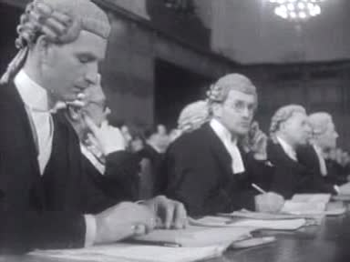 The British legal team in the Corfu Channel Case seated while Sir Hartley Shawcross (not shown) speaks before the Court, 26 February 1948, Nederlands Instituut voor Beeld en Geluid, CC 3.0