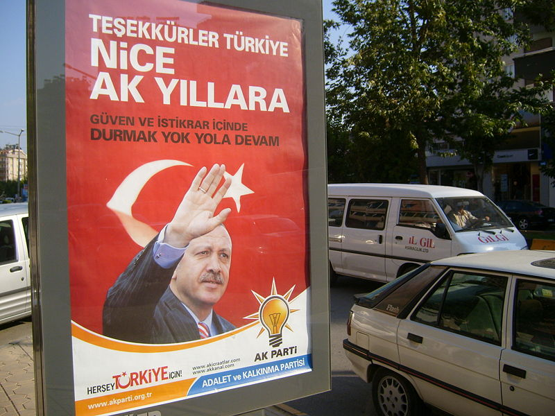 "AK Party poster after the parliamentary elections in 2007 in Turkey. The poster says ""thank you Turkey"" and could be found everywhere in Turkey. This one is from Gaziantep, Ekim Caglar, July 2007. CC 3.0"